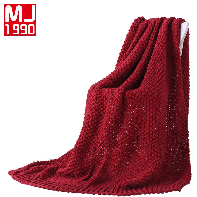Comfortable Warm Knitted Wool Blanket Rhombus Sofa/Bed Cover Quilt Knitted Blankets 130*160 cm Claret Solid Color Thread Blanket big size nordic navy blue gray mixed sofa cover blanket 130 170cm simple style wearable blanket sofa towel car blanket