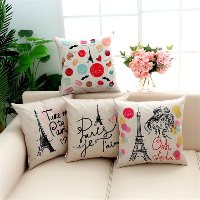 Europea Paris Torre Eiffel Amor Letras Inglesas Cojín Funda de Almohada Decorativa Fundas de Almohada de Algodón de Lino