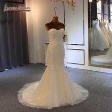 Semplice che borda della sirena dei fiori abito da sposa vestido de noiva