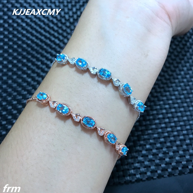 KJJEAXCMY Fine jewelry The new incoming 925 sterling silver inlaid natural Topaz Bracelet shinv new hot infinity incoming
