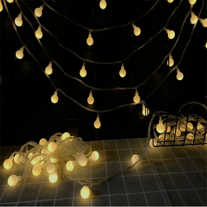 10M led string lights with 50led ball AC220V holiday decoration lamp Festival Christmas lights outdoor lighting10M led string lights with 50led ball AC220V holiday decoration lamp Festival Christmas lights outdoor lighting