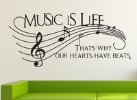 Music Vinyl Wall Decal Music Is Life Musical Note Wall Decor Mural Art Wall Sticker DJ Band Room Music Class Bedroom Decoration