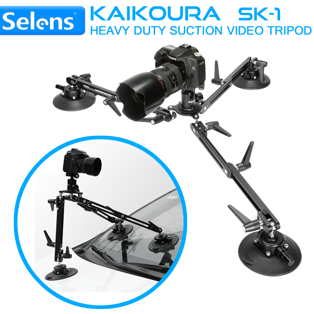Selens SK-1 Kaikoura Heavy Duty Suction Video Tripod DSLR Camcorder Support Stabilizer Rig Filming Gear Solid Aluminum Alloy yelangu dslr rig video stabilizer mount rig dslr cage handheld stabilizer for canon nikon sony dslr camera video camcorder