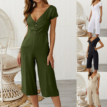Womens Jumpsuit Summer Short Sleeve Ladies Jumpsuits Rompers Loose Trousers