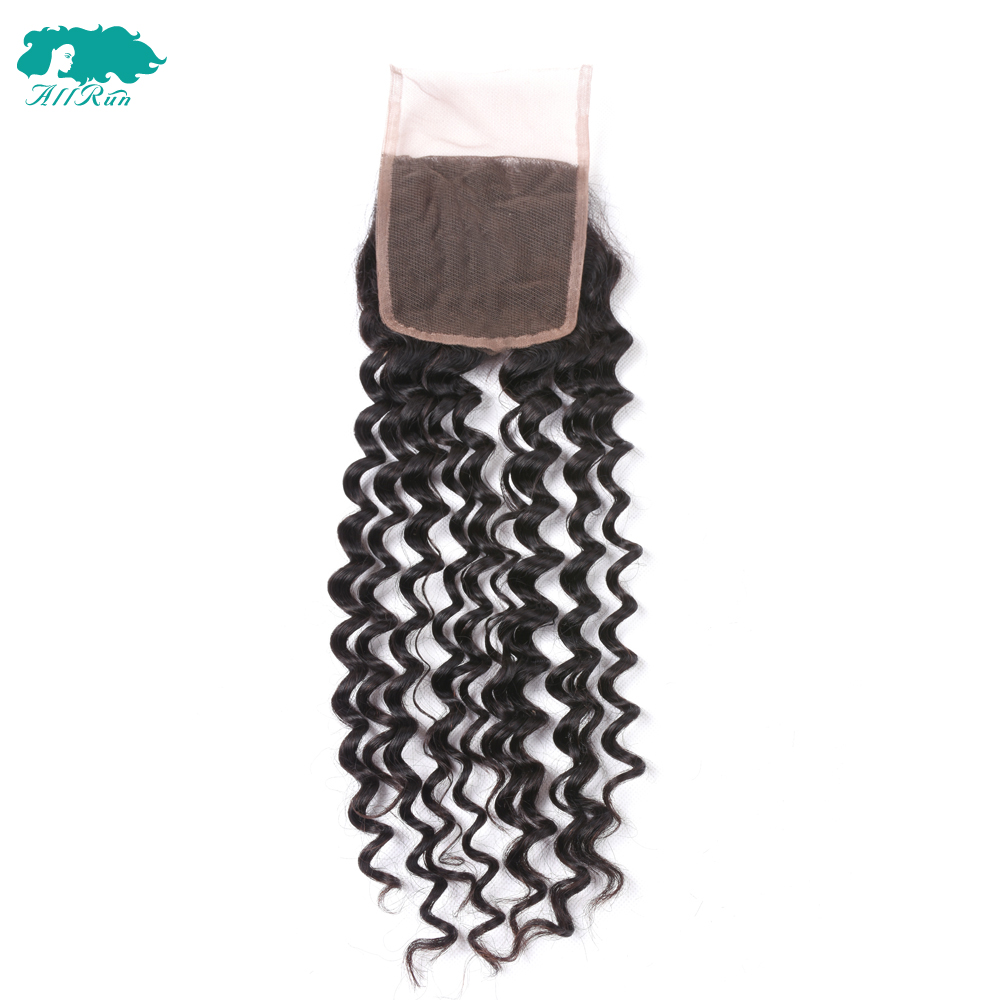 ALLRUN Peruvian Hair Weave lace Closure Deep Wave Human Hair Lace Closure Non-Remy Hair Extensions 10pleces/ 1pack free shipping