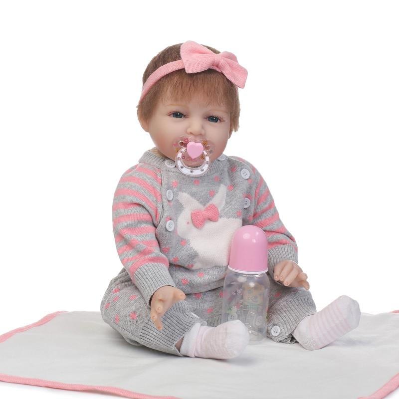 Soft silicone reborn baby girl doll toy lifelike 55cm newborn babies dolls fashion birthday gifts Lovely girls brinquedos smile reborn girl with blue dress 22 lifelike baby dolls soft silicone fashion kids toy xmas gifts reborn baby doll for sale