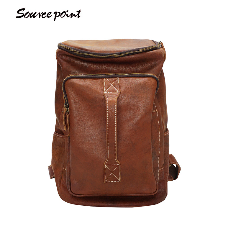 YISHEN Crazy Horse Genuine Leather Men Backpack Large Capacity Travel Backpack For Male Fashion School Bags For Boys YD-01919 weibin male functional bags fashion men backpack big capacity pu leather men school backpacks for boys business travel mochila