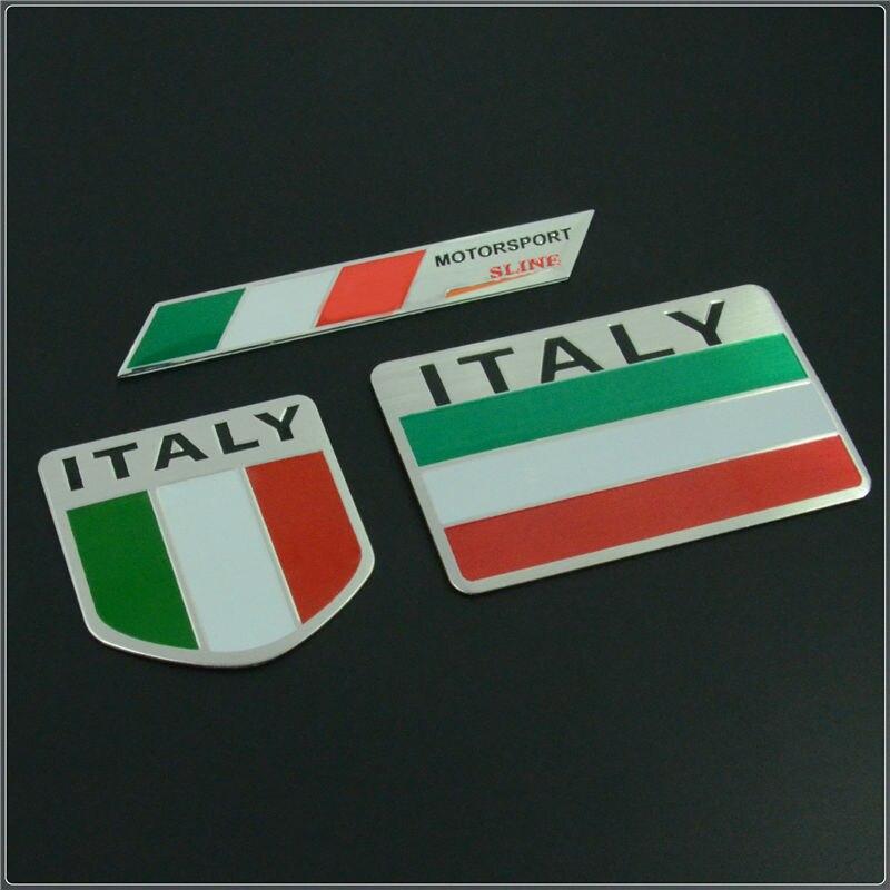 Italy Map National Flag 3D Car Stickers Aluminum Car
