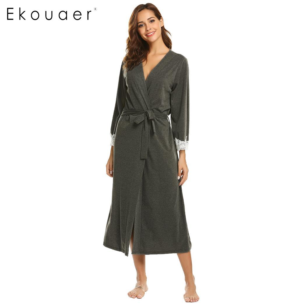 Ekouaer Women Kimono Robes Sexy Long Bathrobe Lace Trim Long Sleeve  Sleepwear Robe Spa Bath Robes 878a38879473