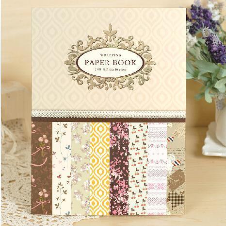 16 우아한 포장 종이 책, 선물 포장 휴일 포장 종이 22.5 센치메터 x 30.4 센치메터, 8 디자인