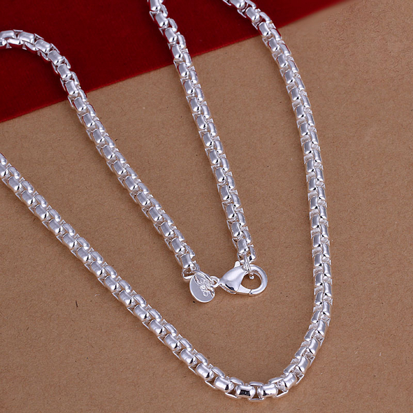 silver chain 925 sterling silver jewelry statement fashion fine pendant new 6mm wide round grid link chain men necklace CN053