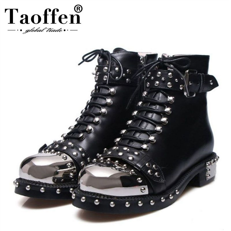 TAOFFEN Brand Design Genuine Leather Large Size 34-43 Rpunk Style Ankle Boots Black White Buckles Women Shoes Motorcycle BootsTAOFFEN Brand Design Genuine Leather Large Size 34-43 Rpunk Style Ankle Boots Black White Buckles Women Shoes Motorcycle Boots