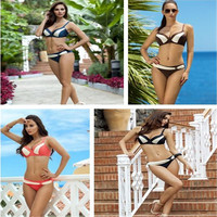 2017 new European and American popular bikini fight color ring ring sexy Brazil beach swimsuit