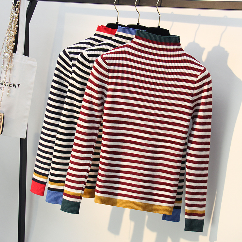 HLBCBG Striped Autumn Winter Turtleneck Pullover Sweater Women Warm Knitted Jumper High Elasticity Long Sleeves Femme Sweater in Pullovers from Women 39 s Clothing