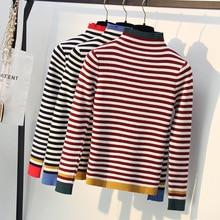 HLBCBG Striped Autumn Winter Turtleneck Pullover Sweater Women Warm Knitted Jumper High Elasticity Long Sleeves Femme