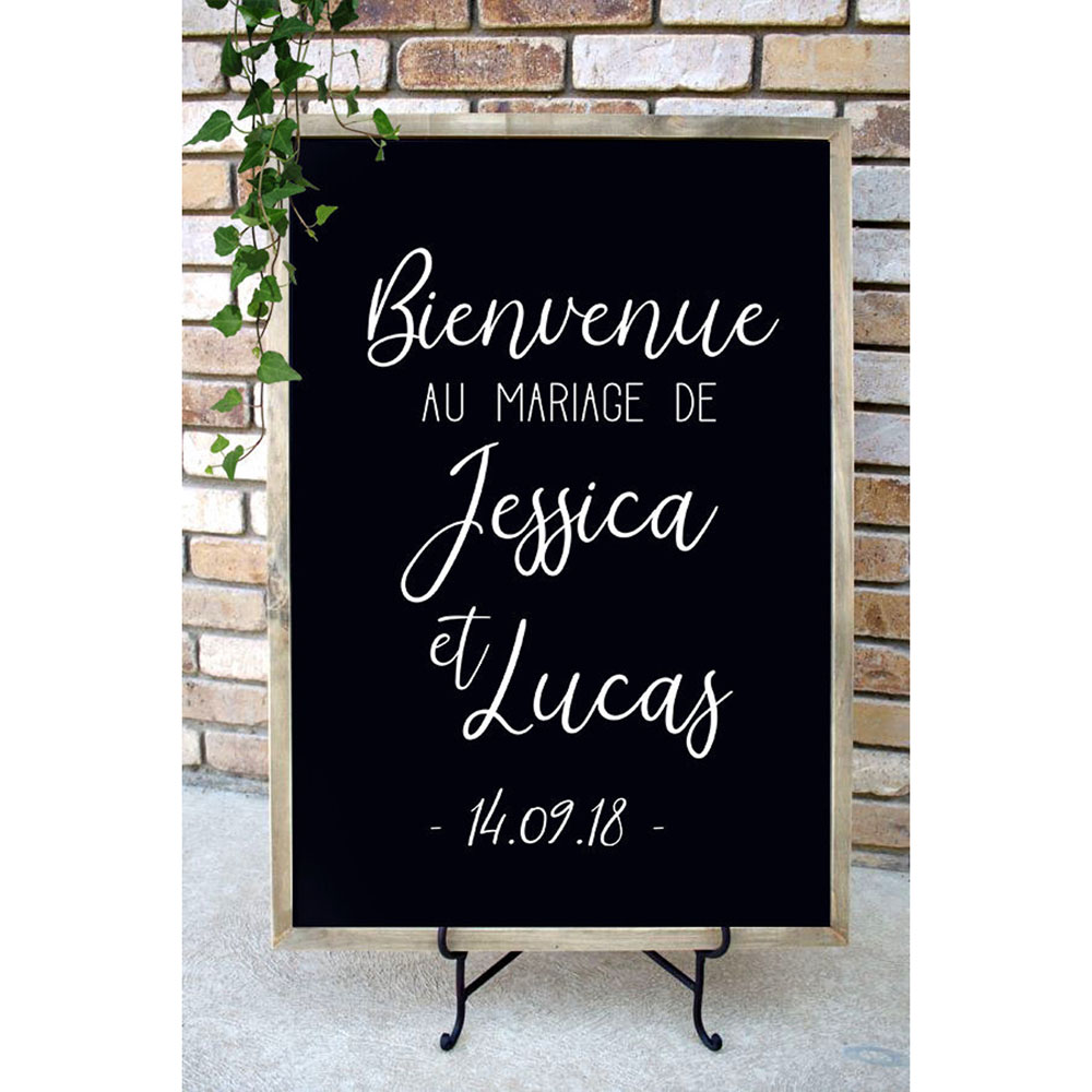 Bienvenue Au Mariage De décalcomanie décor De Mariage nom personnalisé Date autocollants français Mariage Bienvenue signe décalcomanies pour planche G268