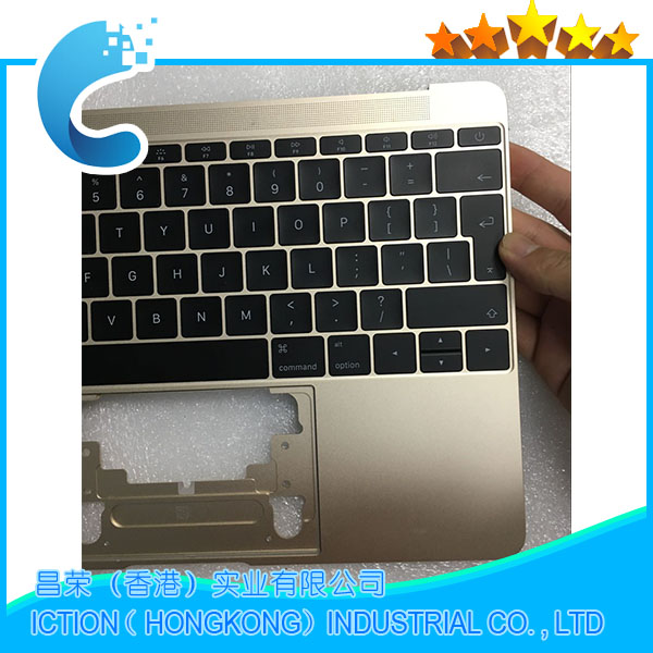Original Gold Color For Macbook Pro Retina 12 A1534 Topcase With Keyboard Upper Top Case UK Layout 2016 Years topcase apple new macbook 12 chevron series keyboard cover silicone skin for macbook 12 inch with retina display model a1534 newest version 2015