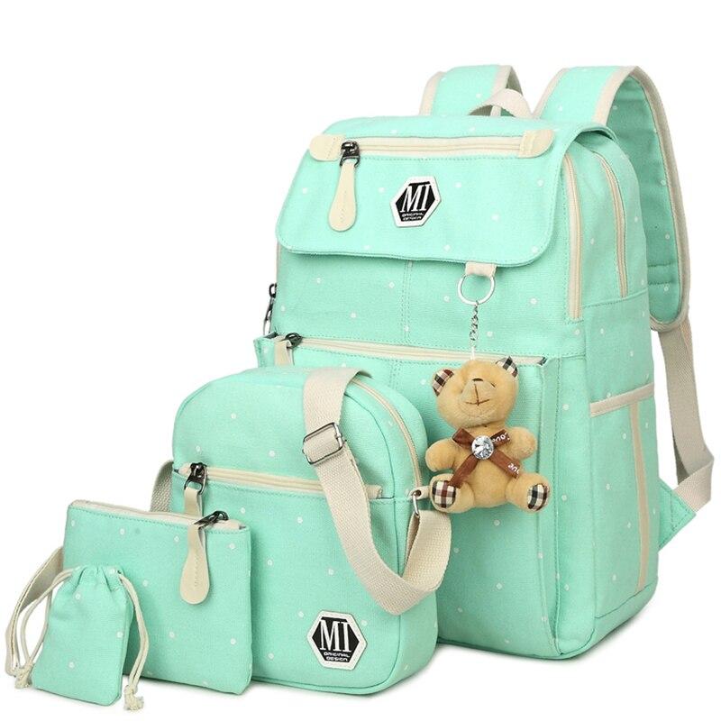 22f481eb6c35 ... рюкзак moclila сумка · Холст 4 шт./компл. школьные рюкзаки Колледж Школьные  сумки мода plecak для подростков