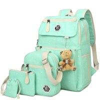 Canvas 4Pcs/set School Backpacks College School bags Fashion Plecak for Teenager Girl And Boys Rucksack Moclila Shoulder Bag