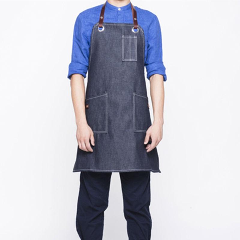 Black Denim Bib Apron Leather Straps Barber Barista Florist Cafe Bar Chef Uniform Tattoo Artist Carpenter