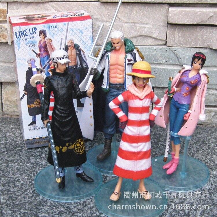 4pcs One Piece Luffy Law Smoker Tashigi Punk Hazard Ver. The 81th PVC Action Figure Collection Model Toy 4pcs/set