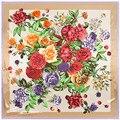 90*90 cm 2017 Marca de Luxo vintage clássico praça lenços de seda sentimento impressão flor rosa lenço para as mulheres verão inverno primavera