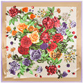 90*90cm 2017 Luxury Brand vintage classic square silk feeling scarves print rose flower  scarf for women summer winter spring