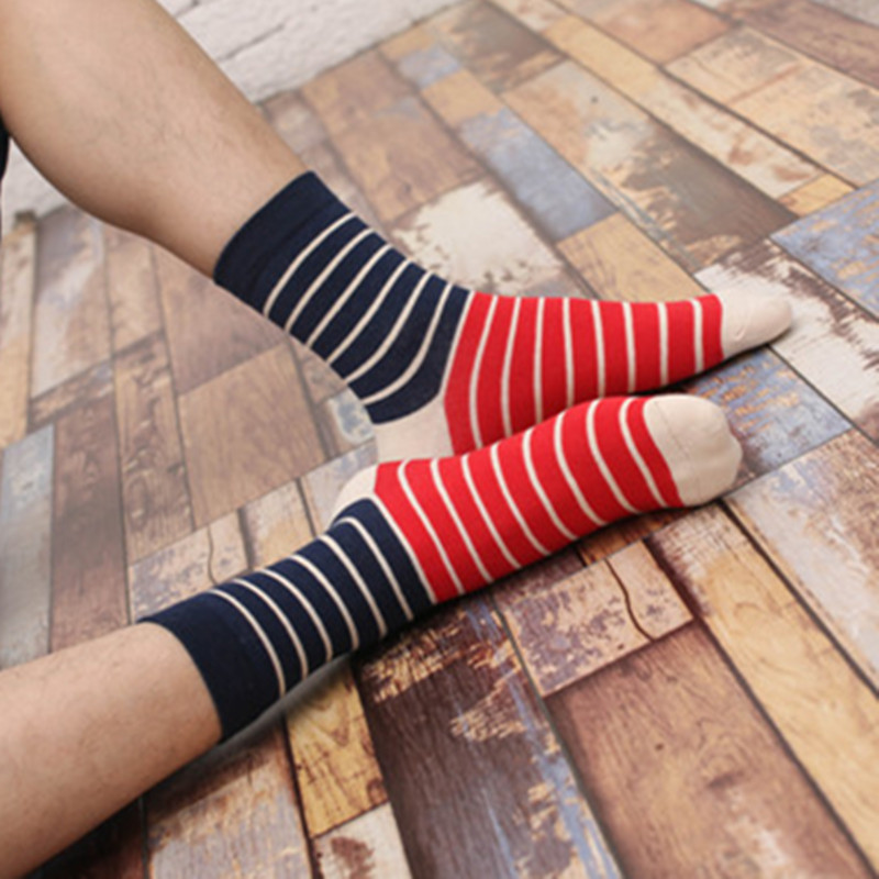 A Pair Cotton Men s Sock Casual Fashion Colorful Striped Calcetines Brief Cosy Socks For Men