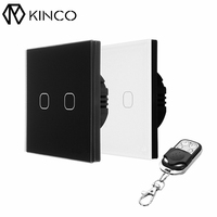 KINCO AC170-240V EU/UK Standard 2 Gang 1 Way RF433 Remote Smart Toughened Glass Wall Switch Wireless Remote Control Switches