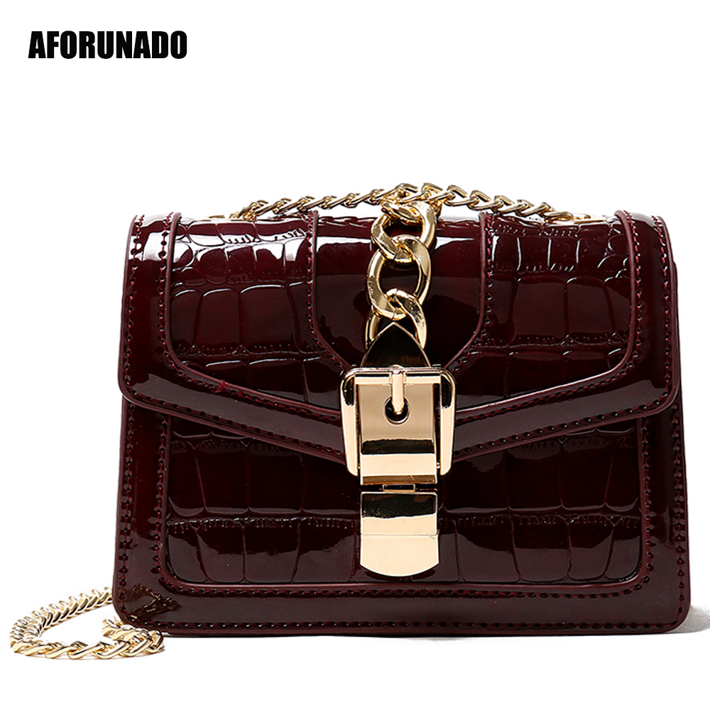 Luxury Handbags Women Bags Designer Chain Leather Crossbody Bags For Women 2019 Crocodie Female Fashion Messenger Shoulder Bags