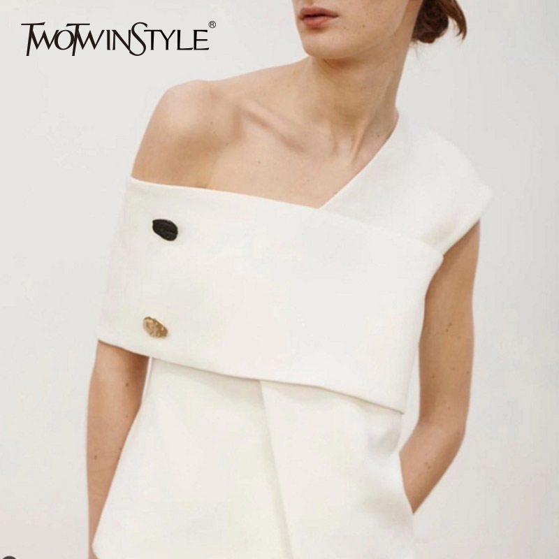 TWOTWINSTYLE Irregular T Shirt For Women Off Shoulder Patchwork High Waist Pullover Tops 2018 Spring Summer Elegant Clothing