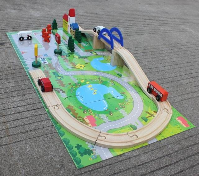 Huge children brand wooden Traffic cars with Interchange Bridge puzzles/ kids 3D assembly wood building puzzle with train track