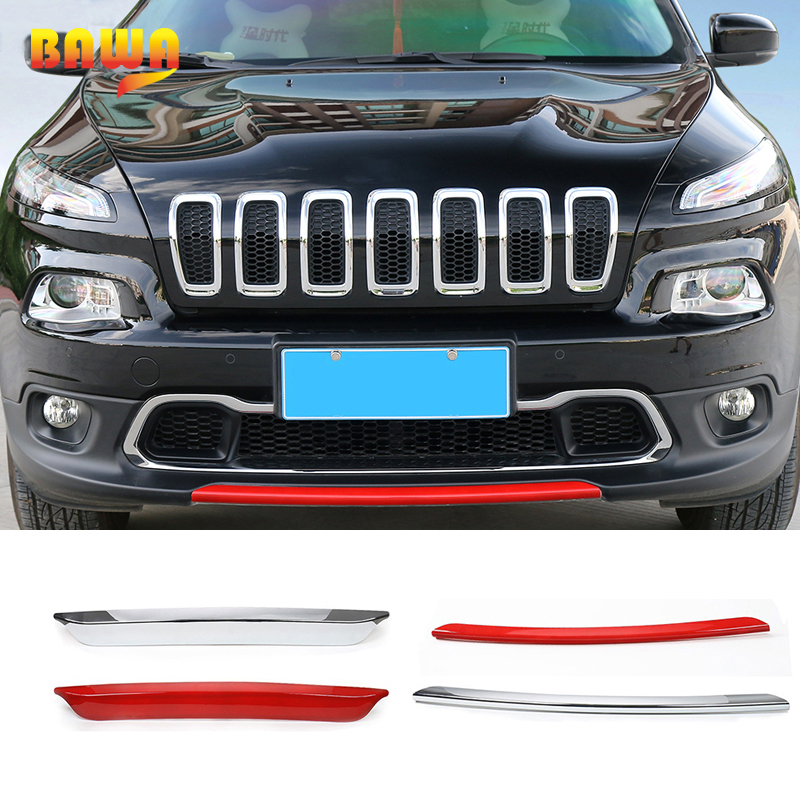 BAWA Styling Mouldings ABS Front & Rear Bumper Decoration Trim Strip for Jeep Cherokee 2014 2016 Car Accessories