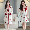 Floral Robe Sexy Women Flannel Long Bath Robe 2 Piece Winter Long Nightgown Thick Dress Cute Womens Slings Nightgown-robe-set