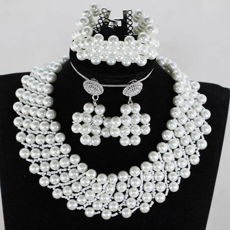 10 MM perles de coquillage blanc ensemble de bijoux en perles collier de mode africaine Bracelet boucles d'oreilles ensemble de bijoux de mariée Chunky SP014
