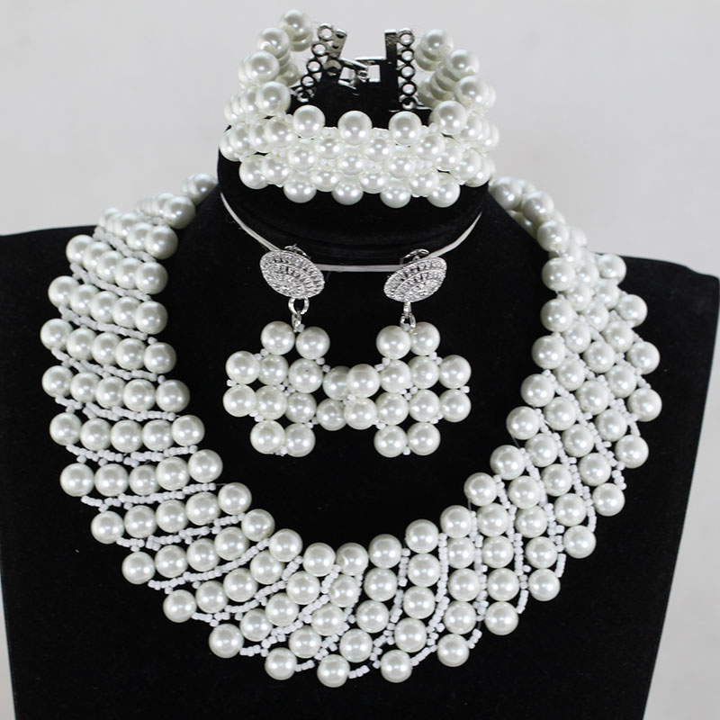 10MM White Shell Pearls Beaded Jewelry Set African Fashion Necklace Bracelet Earrings Set Chunky Bridal Jewelry Set SP01410MM White Shell Pearls Beaded Jewelry Set African Fashion Necklace Bracelet Earrings Set Chunky Bridal Jewelry Set SP014