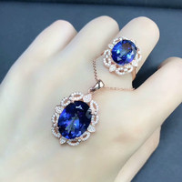DJ ch Joyería fina anillo/Collar oval recubierto tanzanita Topacio Azul gemas naturales Anillos COLLAR COLGANTE en 925 plata