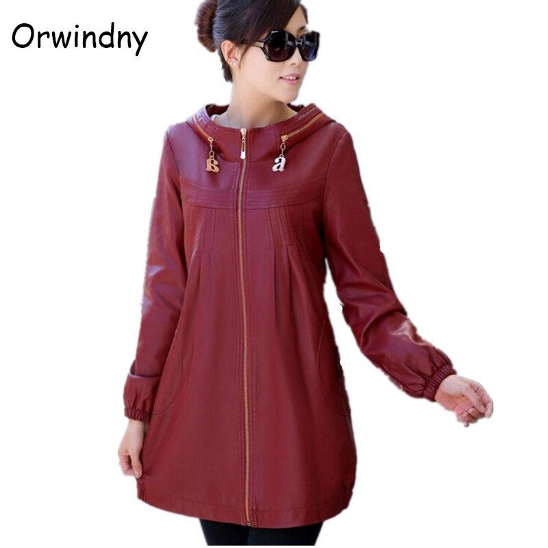 Hot-selling   leather   jacket women large size 5XL 2018 long plus size   leather   clothing female outerwear ladies jackets and coats