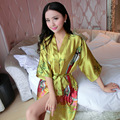 New Arrival Chinese Women Summer Silk Sleepwear Sexy Mini Robe Dress Printed Kaftan Bath Night Gown Flower One Size J05