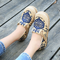 2017 New Vintage Casual Flat Shoes Women Flats Retro Ethnic Embroidered Hemp Cloth Shoes Comfortable Loafers Zapatos Mujer O1411