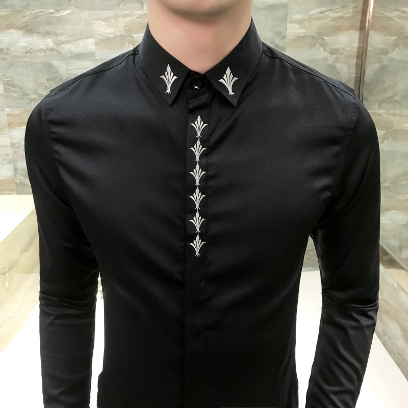 Broderie col chemise aveugle Placket hommes chemise à manches longues Slim Fit mode coréenne robe chemise hommes Camisa mode Masculina - 5