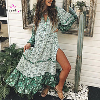 Bohemia Style Beach Dresses Women Bikini Cover Up Printing Tunics Beach Wear Long Sleeves Summer Dresses Bikini Cover Up