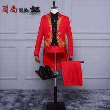 Red tuxedo blazer men formal dress latest coat pant designs suit men costume homme terno marriage wedding suits for men's stage