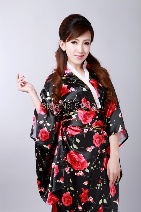 1f18c4c6a R$ 101.86 50% de desconto Xangai História estilo tradição Japonesa vestido  da Fêmea Do Vintage Kimono Yukata Kaftan vestido de quimono japonês ...