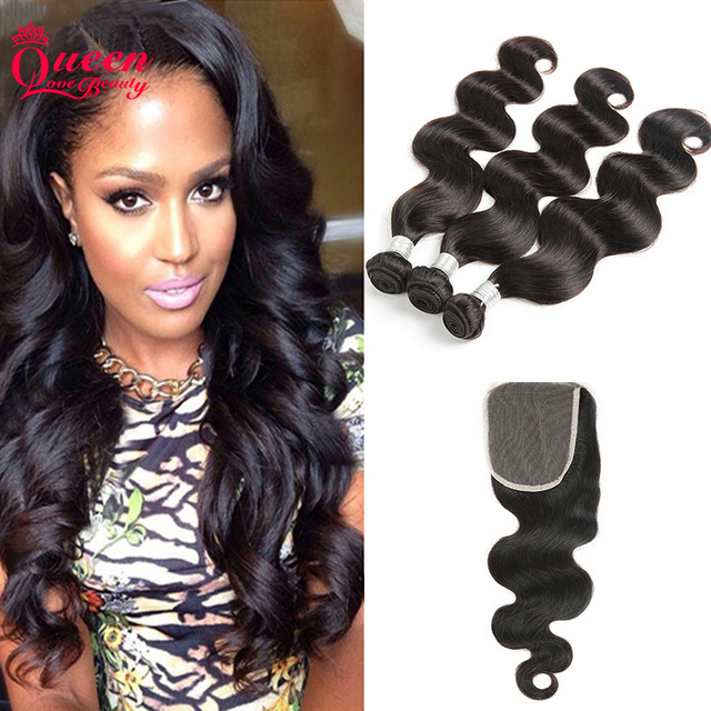 Indian Body Wave With Closure 7A Indian Human Hair 3Bundles With Closure Indian Virgin Hair Body Wave With Closure
