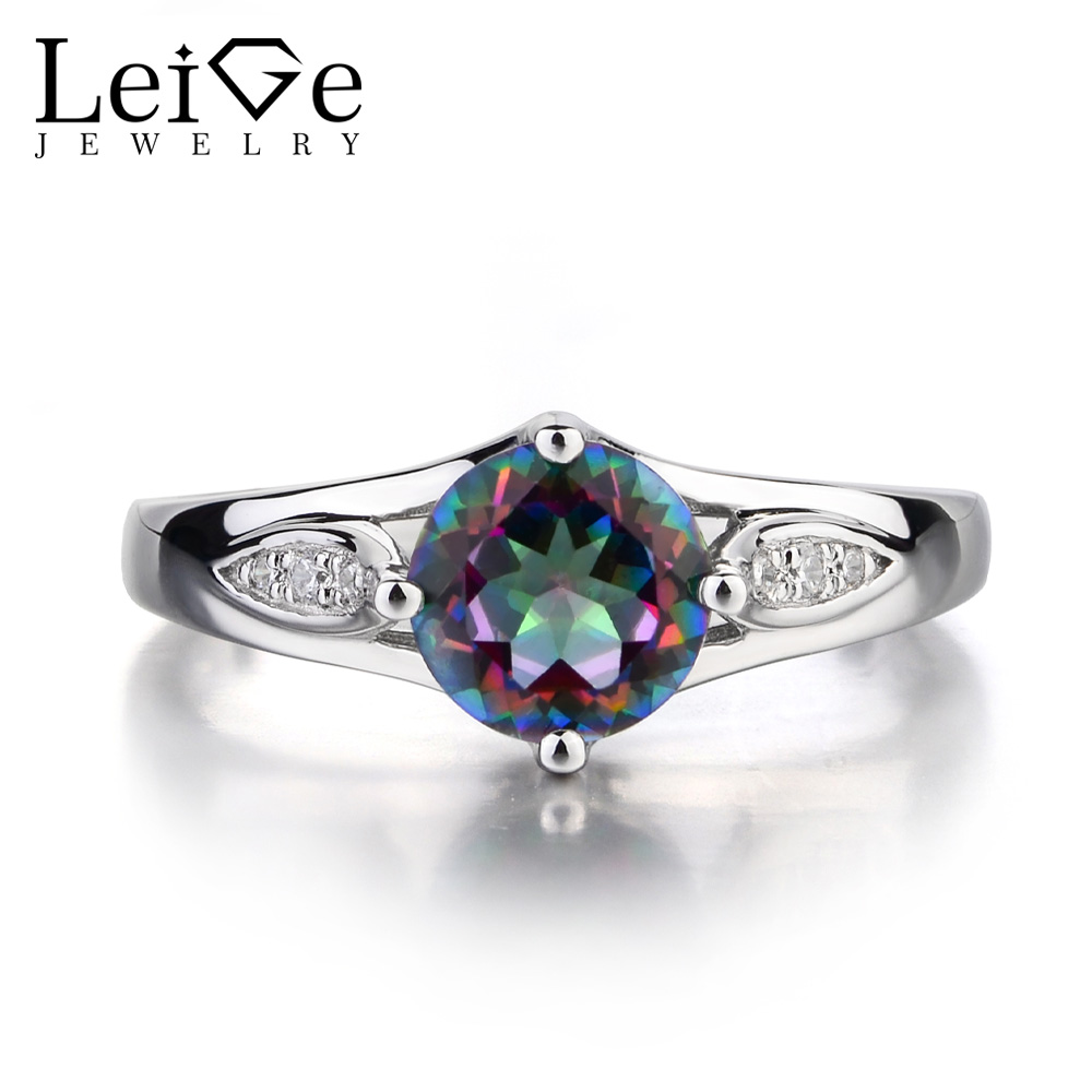 Leige Jewelry Mystic Topaz Ring Promise Engagement Sterling Sliver Rings For Woman Rainbow Gemstone Jewelry Round CutLeige Jewelry Mystic Topaz Ring Promise Engagement Sterling Sliver Rings For Woman Rainbow Gemstone Jewelry Round Cut