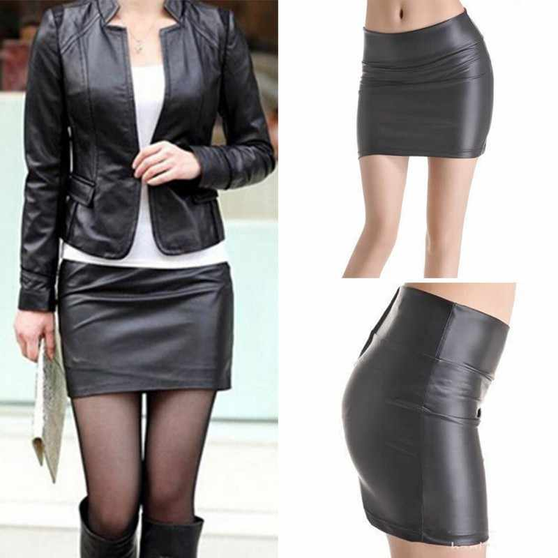 Wanita Seksi Bodycon Rok Mini Faux Kulit Zip High Waist Mini Rok Pendek S-3XL