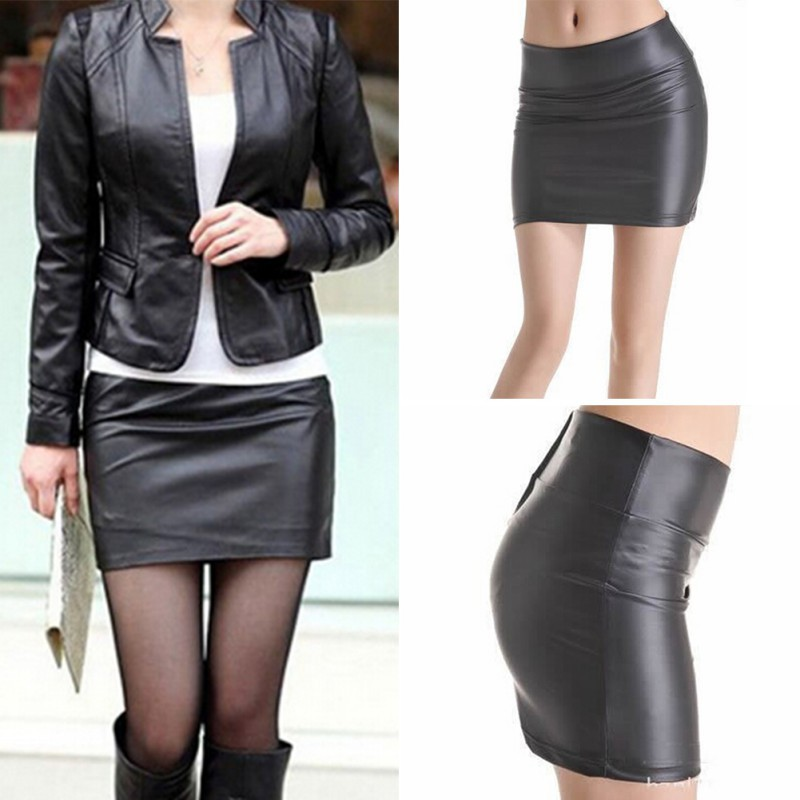 Women Sexy Bodycon Mini Skirt Faux Leather Zip High Waist Mini Short Skirt S-3XL