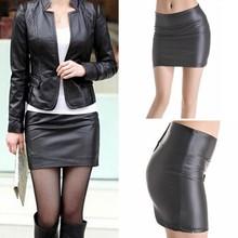 Women Sexy Bodycon Mini Skirt Faux Leather Zip High Waist Mini Short Sk