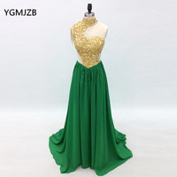 Long Evening Dress 2018 High Neck Gold Crystal Beaded Sexy Green Women Formal Evening Prom Dresses